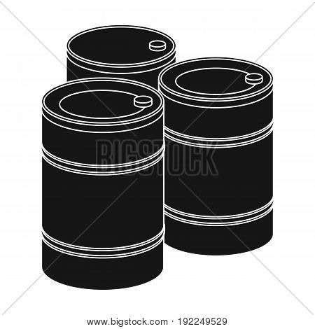 Barricade of empty barrels.Paintball single icon in black style vector symbol stock illustration .