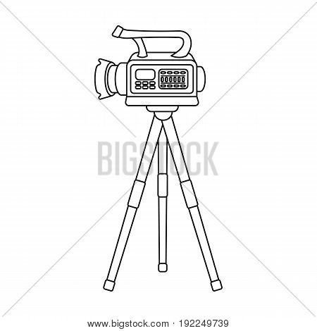 Movie camera on a tripod. Making a movie single icon in outline style vector symbol stock illustration .