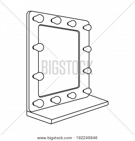 Mirror in the make-up room.Making movie single icon in outline style vector symbol stock illustration .