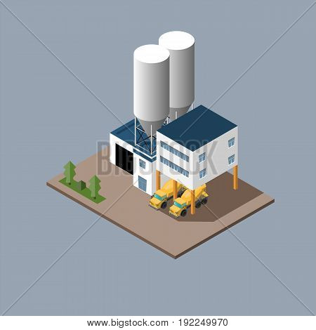 vector illustration of the production of concrete and concrete mixers . isometric vector illustration