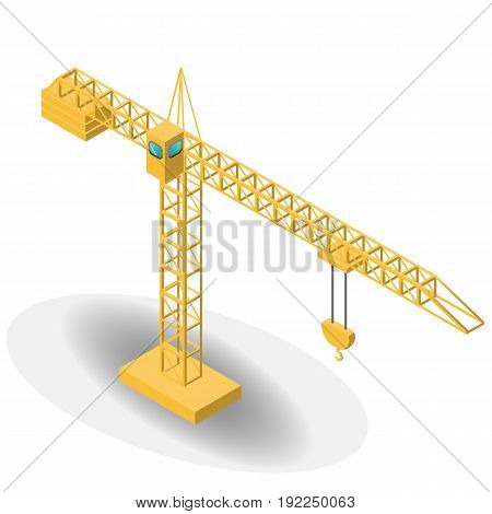 Isometric industrial cranes for construction. Vector illustration