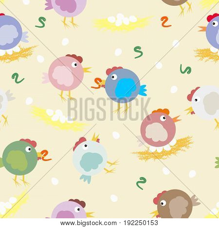 Multicolored chicks, worms and egg nests. Funny original vector pattern for your design