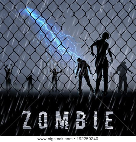 Zombie Walking at Night in a Rainy Weather. Silhouettes Illustration for Halloween Poster