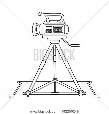 Camera moving on rails.Making movie single icon in outline style vector symbol stock illustration .