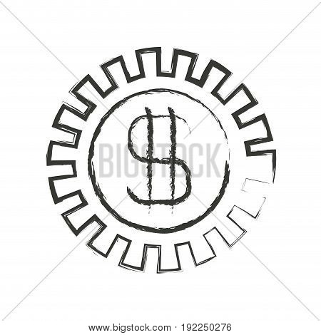 monochrome blurred silhouette of pinion with money symbol vector illustration