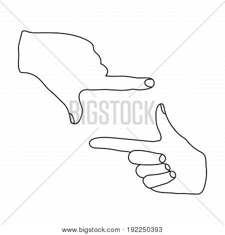 Gesture of the operator.Making movie single icon in outline style vector symbol stock illustration .