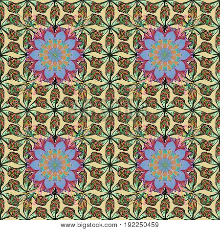 Background. Vector ethnic mandalas doodle background circles.