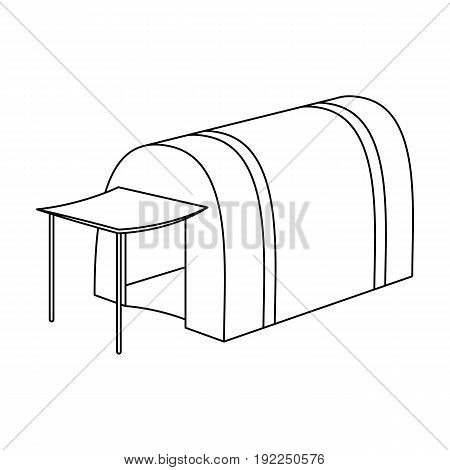 Tent with awning.Tent single icon in outline style vector symbol stock illustration .