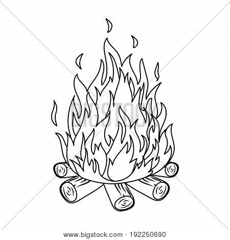 Bonfire.Tent single icon in outline style vector symbol stock illustration .