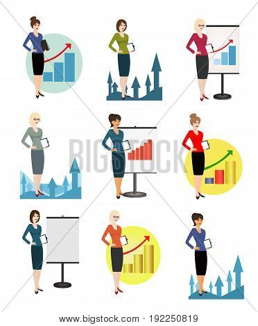 Vector illustration of qualified office workers on  white background. Specialist in public relations, PR manager, skilled office employee, secretary, receptionist. Vertical location.