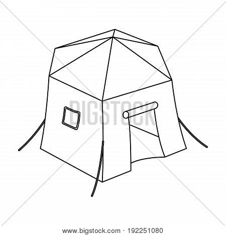 Tourist tent.Tent single icon in outline style vector symbol stock illustration .