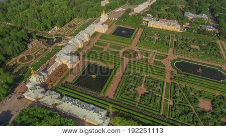 Russia, Saint-Petersburg, June 2017 - Aerial view of Peterhof Palace