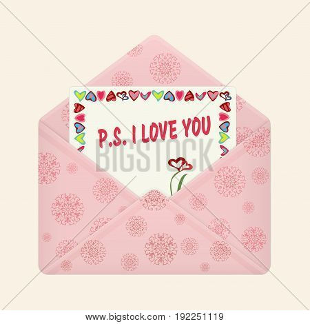 Letter in open colorful envelope. Postcard with a message P.S. I love you. Valentine letter, flat icon. Declaration of love. Vector illustration. Isolated on light background. Square location.