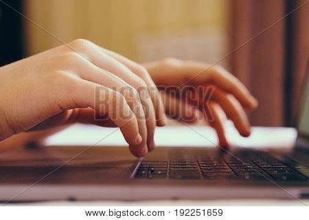 Hands, laptop, work behind laptop, type on keyboard,business.