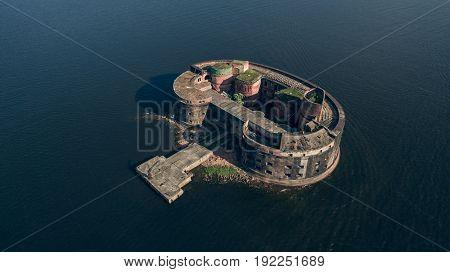 Aerial view of Fort Alexander I near Kronstadt and Saint Petersburg