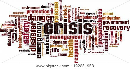 Crisis word cloud concept. Vector illustration on white