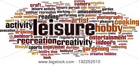 Leisure word cloud concept. Vector illustration on white
