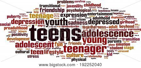 Teens word cloud concept. Vector illustration on white