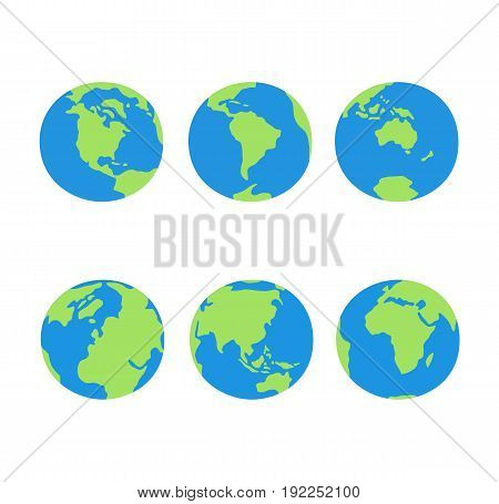Earth globes set. Earth globes icon flat. Vector stock.