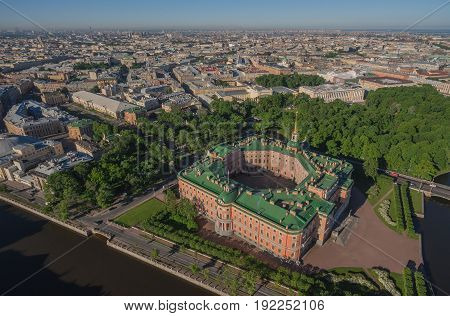 Aerial view of Mikhailovsky castle in Saint-Petersburg, Russia