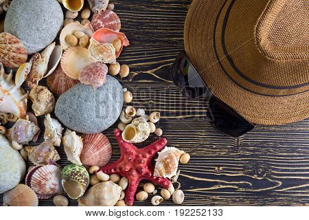 Beach accessories on wooden board .Concept of the summer time with starfish and sea shells on the wooden background.