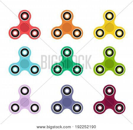Fidget spinner icon colors collection. Fidget spinner isolated. Vector stock.