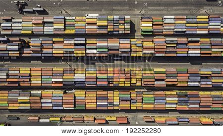 Aerial view of container terminal in port