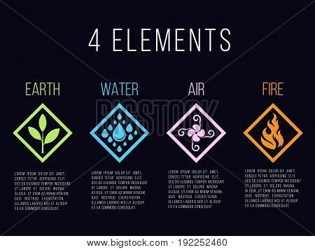 Nature 4 elements in diamond line border abstract gradient icon sign. Water Fire Earth Air. on dark background.