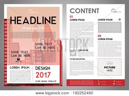 Vector Flyer, Corporate Business, Annual Report, Brochure Design And Cover Presentation Red Color.