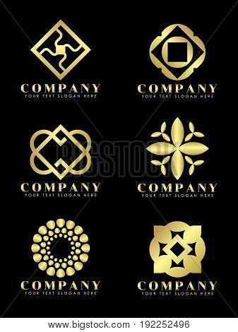 Gold Diamond jewelry and flower art abstract logo vector set design