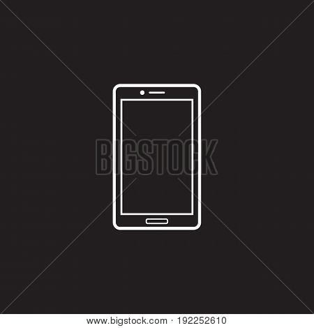 Smartphone line icon, outline vector logo illustration, linear pictogram isolated on black