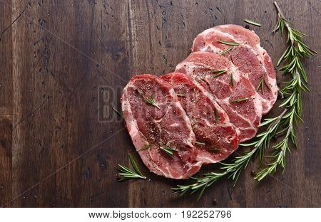 Pork Steak With Rosemary And Pepper , Free Space For Your Text