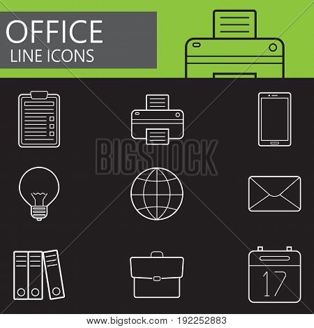 Office line icons set, outline vector symbol collection, linear pictogram pack isolated on black, logo illustration