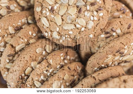 Homemade fitness cookies for proper nutrition with cereals and sunflower seeds close-up