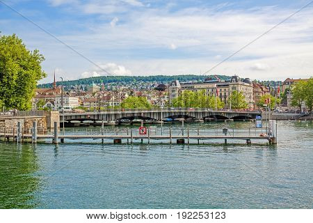 Zurich Quaibrucke bridge river Limmat / Lake Zurichsee - view from quare Burkliterrasse towards Bellevueplatz square