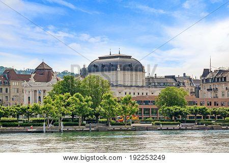 Opera house at Limmat River Quay in Zurich Switzerland