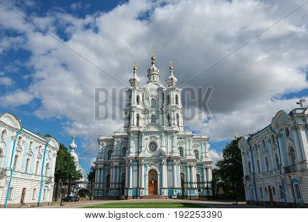 Front view of Smolny Cathedral, Saint Petersburg, Russia