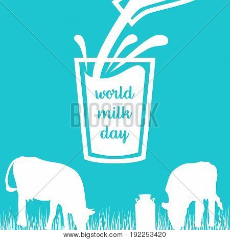 World milk day Cow, Milk pouring from a bottle in glass, silhouettes on Blue background. Concept idea for diary, Cattle farm. For logo, tag, banner, advertising, prints, design element, label