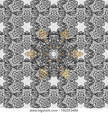 Traditional vector and golden pattern. Classic oriental pattern over gray background. Damask seamless ornament.