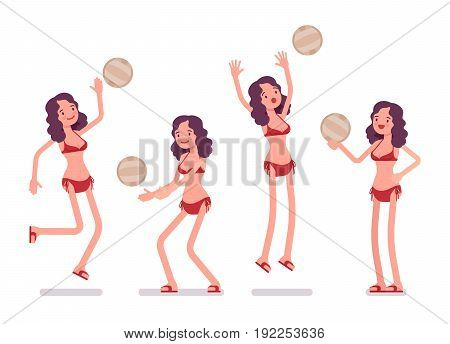 Woman in a bikini set playing beach volleyball, enjoying summer vacation season and healthy sport, fun time to get outside, jumping. Vector flat style cartoon illustration, isolated, white background