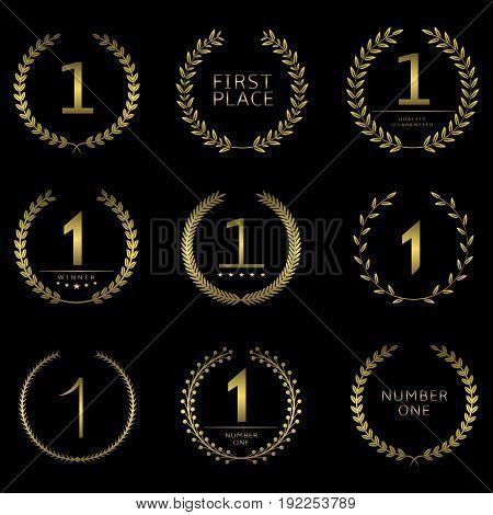 Number one symbol set. First place logos, golden award signs