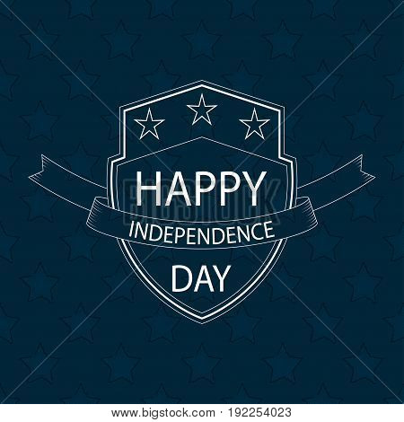 Happy Independence Day text on outline shield with ribbon and stars. Template for 4th of July design. Vector background.