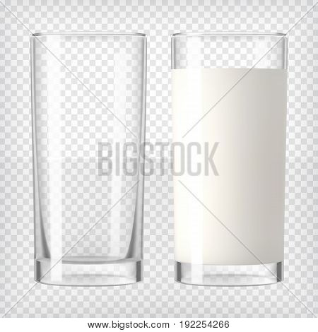 Milk in a glass and an empty glass. Healthy diet. Clean eating.Tall glass with beverage. Breakfast, protein rich dairy product. Transparent photo realistic vector illustration.