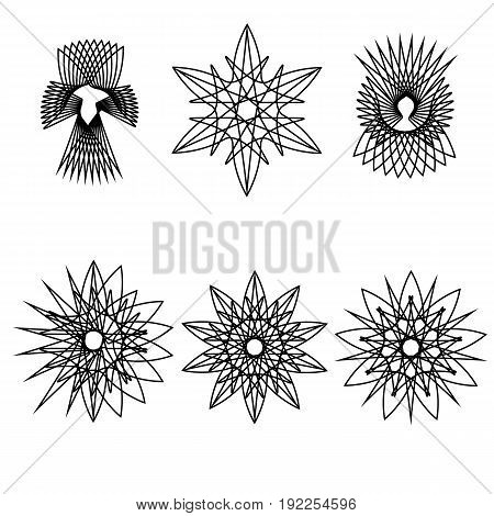 Astrology Geometric Pattern Set Pentogramm