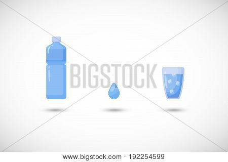 Water vector flat icon set Flat design of food health care or summer object with round shadow cute illustration