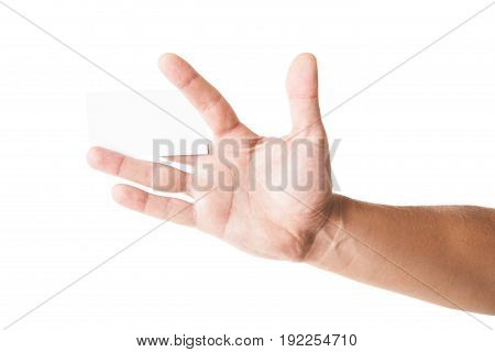 Business card in man's hand on white background
