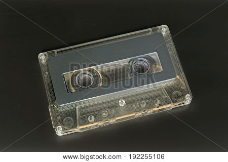 Closeup Cassette Tape Isolated on Dark Gray Background