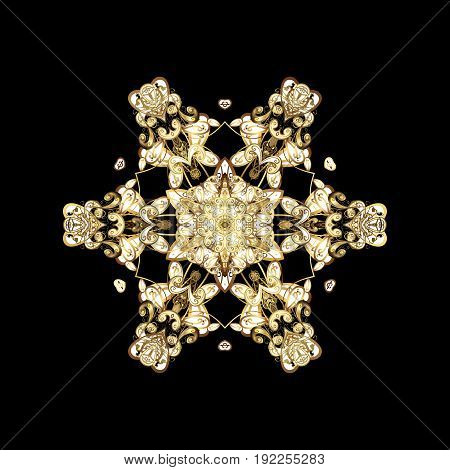 Falling Christmas stylized gold snowflakes. Snowflakes snowfall. Illustration. Beautiful vector golden snowflakes isolated on black background.