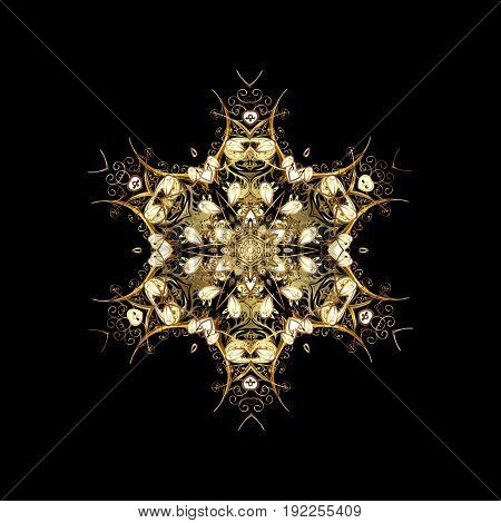 Beautiful vector golden snowflakes isolated on black background. Snowflakes snowfall. Falling Christmas stylized gold snowflakes. Illustration.