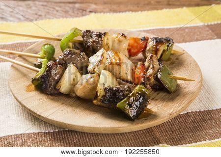 Bbq Meat On Sticks, Kebab Skewers With Vegetable Sticks